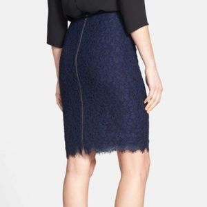 NWT DVF Scotia Lace Skirt Navy Blue Sz 14 Zipper